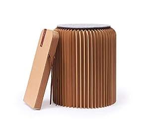 Fold Concept Faltbarer Papier Hocker Papphocker mit Sitzauflage   Innovativ & Multifunktional   Recyclebar & Umweltfreundlich   Wohnzimmer, Arbeitszimmer & Kinderzimmer   Falthocker (Braun, 42cm)