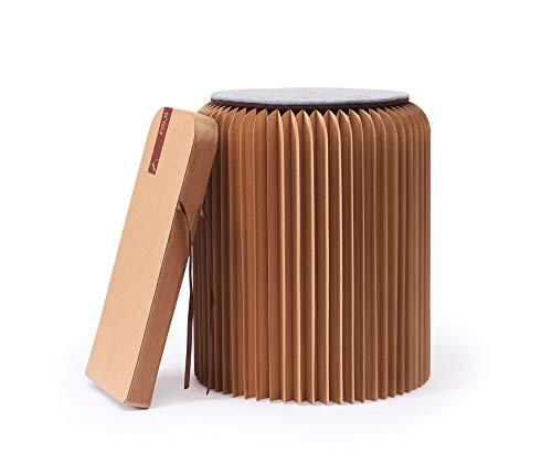 Fold concept - sgabello di carta pieghevole con seduta in cartone, innovativo e multifunzionale, carta per cracket, riciclabile ed ecologica, ideale per soggiorno, studio e cameretta dei bambini, marrone, marrone, 42 cm
