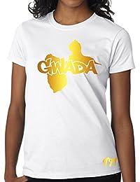 T-shirt Femme Guadeloupe 971 Gwada Blanc et Or Métallisé