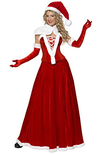 Smiffy's- Smiffys Costume de Mère Noël de, Rouge, avec Bonnet, Cape, Corset, Jupe et Gants Déguisement-Femme, 36985M, Taille M