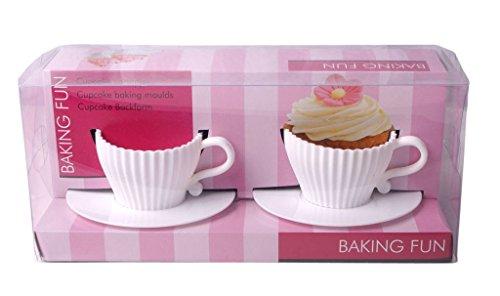 2er Set Cupcake Backförmchen als Tassen Backform Muffin Form Silikon weiß (Tassen Cupcake Silikon)