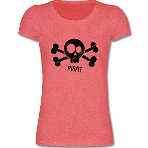 (Bunt Gemischt Kinder - Pirat schwarz - 110-116 (5-6 Jahre) - Rot meliert - F288K - Mädchen T-Shirt)