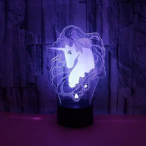 Neuheit geschenk usb 7 farben ändern einhorn modell led nachtlicht 3d tisch schreibtisch touch lampe kinder geschenk -