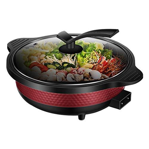 SYLOZ Ein Multifunktionales Antihaft- Topf Elektroherd Pfanne, Haushalt 6L Elektrischer Kochkochtopf, 1800w Großes Feuer, Mehrbereichstemperaturregelung