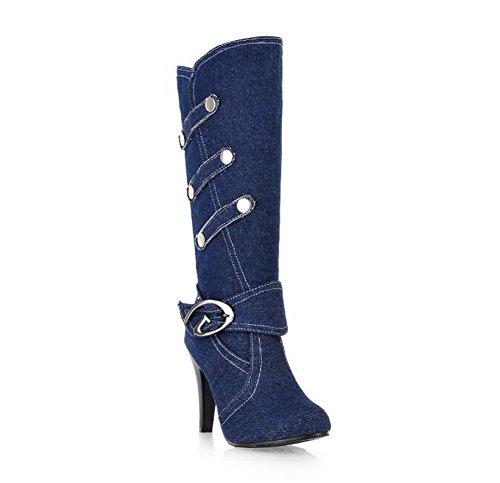 Genou Bottes 8cm Stiletto Knight Bottes Femmes Point Toe Denim Boucle De Ceinture Rivets Robe Chaussures Taille Eu 32-42 Bleu Clair