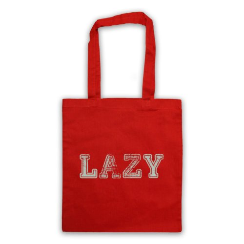Lazy Funny Slogan Tote Bag Rosso