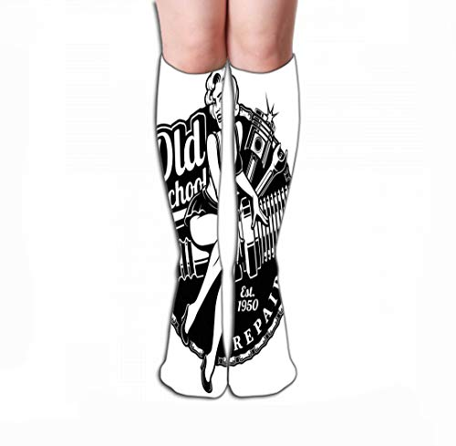 Men Women Outdoor Sports High Socks Stocking Spark Plug pin up Girl monochrme Version Piston Wrench Vintage Style Monochrome All Elements Text Tile Length 19.7