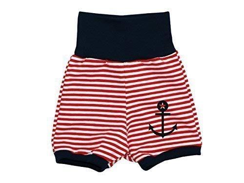 Kleine Könige Baby Shorts Kurze Hose Anker Streifen rot Größe 86/92, Farbe Marineblau