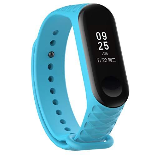 Bestow XiaoMi Mi Band 3 Patr¨®n TPU Smart Reloj de Pulsera Correa de Reloj Reloj Inteligente Electronics Gadgets Reloj de Pulsera (Cielo Azul01)