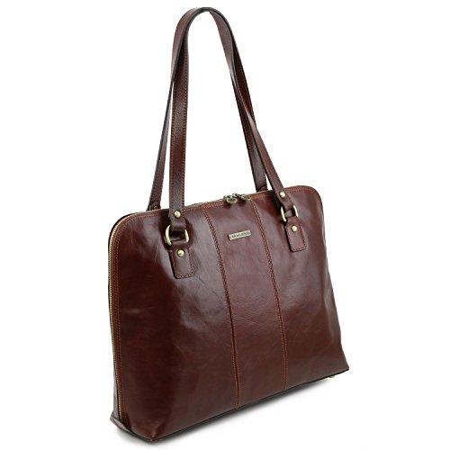 Tuscany Leather Ravenna Esclusiva borsa business per donna Testa di Moro Rosso