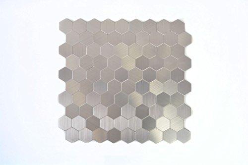 Mosaik Fliese selbstklebend Aluminium silber metall Hexagon metall für BODEN WAND BAD WC DUSCHE KÜCHE FLIESENSPIEGEL THEKENVERKLEIDUNG BADEWANNENVERKLEIDUNG Mosaikmatte Mosaikplatte