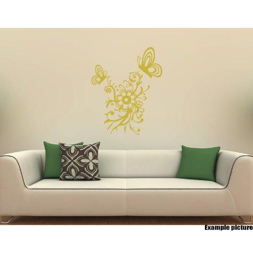 Preisvergleich Produktbild Blumen Ornament (50 cm x 34 cm) und 2 Schmetterlinge (1-22 Wanderrucksack cm x 18 cm, 1-14 cm x 12 cm, Farbe: Metallic Gold Dekoration, Blumen, Vinyl, für Kinderzimmer, Autos, Fenster, Wandtattoo, Kunst, ThatVinylPlace Wandtattoo