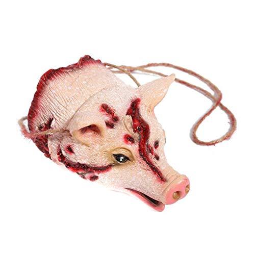 LnLyin Halloween Dekoration Tier Anhänger Wandbehang Spielzeug Prop Maskerade Partei Liefert, Schwein Kopf