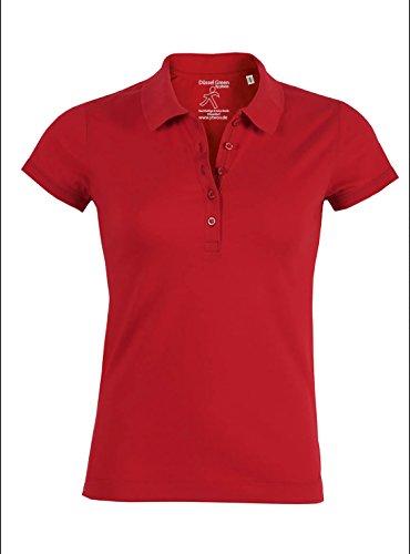 YTWOO Damen Poloshirt Aus 95% Biobaumwolle und 5% Elastan, Poloshirt Damen Baumwolle (Bio), Damen Polo-Piqué Bio, Polo Shirts Bio, Damen Polohemd Bio (S, Rot) (Damen Stretch Polo Piqué)