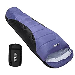 Enkeeo 3 – 4 Season Mummy Sleeping Bag With Bag Of Built-in Compressionhoodpocket, Impearmeabile & Breathable, Lightweight & Compact For Travel Camping Travel, Men's, Purple