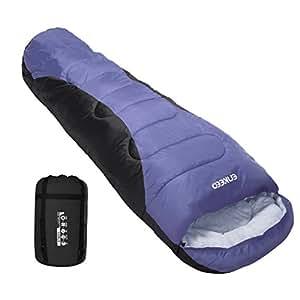 ENKEEO Sac de Couchage Adulte 210 x 80 cm -5 °C ~ 0 °C Portable, Imperméable pour Les Voyages, Le Camping et la Randonnée (Violet)