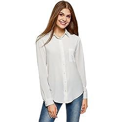 oodji Ultra Mujer Blusa Recta con Bolsillo en el Pecho, Blanco, ES 44 / XL