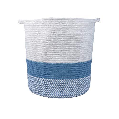 Furnily Storage Basket Cotton Rope Woven, 40x 36 CM Handles Sturdy Washable, Laundry for Baby's Room Toy Bathroom Towel aus weiß und blau