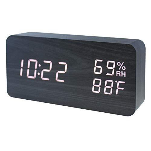 GANGHENGYU Holz Wecker LED Digital Temperatur und Luftfeuchtigkeit Elektronische Schreibtisch Hause Schlafzimmer Reise Uhr mit Sound Control Funktion (Schwarz Holz Weiß Licht) - Temperatur Schreibtisch-uhr Mit