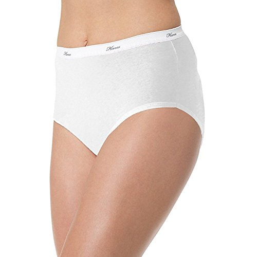 Hanes Women's 6Pack White Cotton Briefs Ladies Panties Underwear (White Hanes Panty)