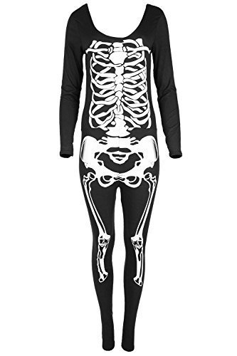 Damen Gespenstisch Sexy Schädel Overall Unheimlich Kleid Damen Skelett Erwachsene Halloween Kostüm - Schwarz, (Halloween Kostüme Erwachsene Size Für Plus)