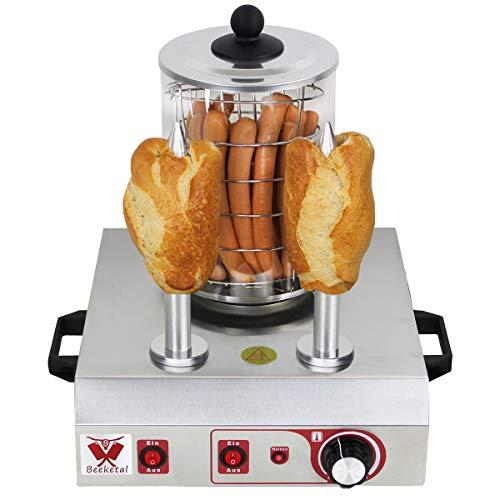 Beeketal 'BHG06b' Profi Gastro Hot Dog Maker mit 2 Heizspießen und 140 mm Korbdurchmesser, Edelstahl Hot Dog Maschine zum erhitzen von Würsten und aufwärmen von Hot Dog Brötchen, Edelstahl Ausführung
