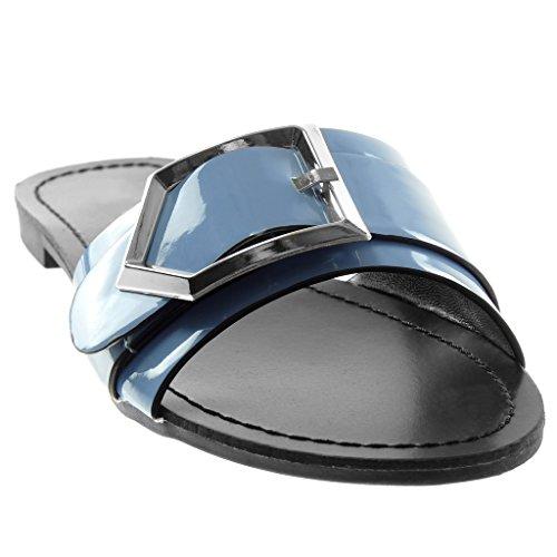 Angkorly Chaussure Mode Sandale Mule Slip-On Femme Boucle Métallique Verni Talon Bloc 1.5 CM Bleu