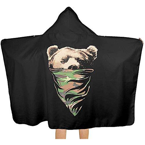 Not applicable California Republic Camouflage Bandana Bär mit Kapuze Decke, gemütliche warme tragbare Decken Neuheit Cape für Kinder Erwachsene -