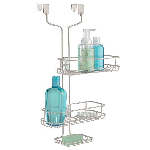 mDesign Duschablage zum Hängen über die Duschtür – praktisches Duschregal ohne Bohren aus Metall – verstellbare Duschkörbe zum Einhängen für Duschzubehör – silber