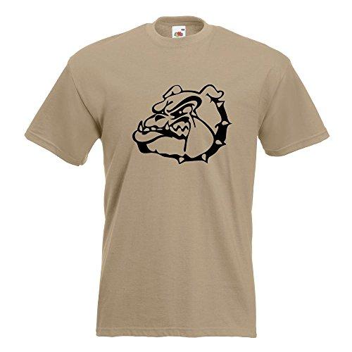 KIWISTAR - Bulldoggen Symbol - Kampfhund T-Shirt in 15 verschiedenen Farben - Herren Funshirt bedruckt Design Sprüche Spruch Motive Oberteil Baumwolle Print Größe S M L XL XXL Khaki