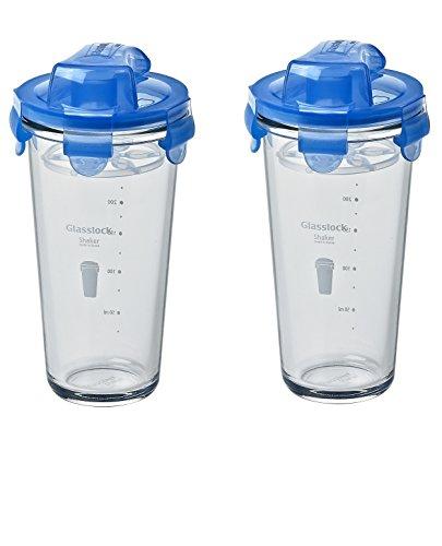 Glasslock (2x PC-318-ML, 2x 450ml) Blau, Frischhaltedose aus Glas - Shaker Typ