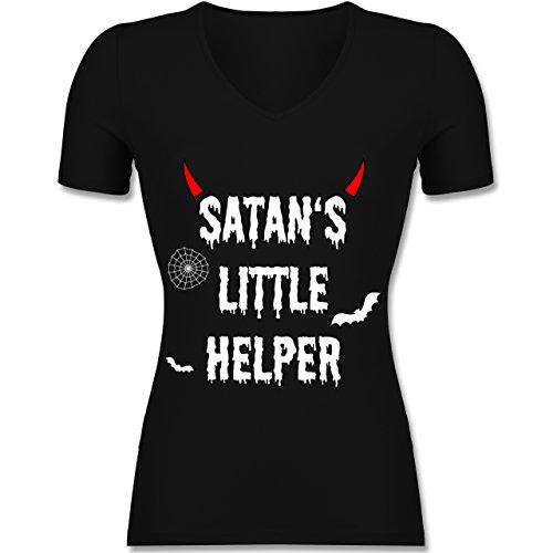 hsene - Satan's Little Helper - Halloween - Teufel - Hörner - Fledermaus - XXL - Schwarz - F281N - - Lady-Fit Frauen Damen T-Shirt mit V-Neck (Halloween-t-shirts Für Erwachsene)