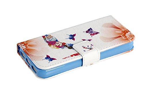 SainCat iPhone 5 / 5S / SE Custodia,Creative Disegno Stampa Libro Stile PU Leather Flip Chiusura Magnetica Protettiva Portafoglio Wallet in Pelle Stand Cover Case Con Funzione di Supporto e Morbido TP Heeled Farfalla