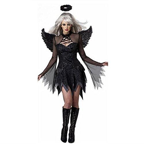 Ranboo Frauen Halloween Engel Kostüm mit Flügel Stirnband Fancy Cosplay (Teufel Engel Kind Kostüme)
