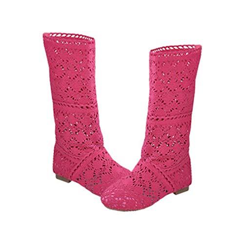 Yying Damen Sommer Stiefel Stiefeletten Flach Stickerei Hohe Stiefel, Sexy Mesh Schlupfstiefel, Slip-On Schuhe Boots Rose 39 -