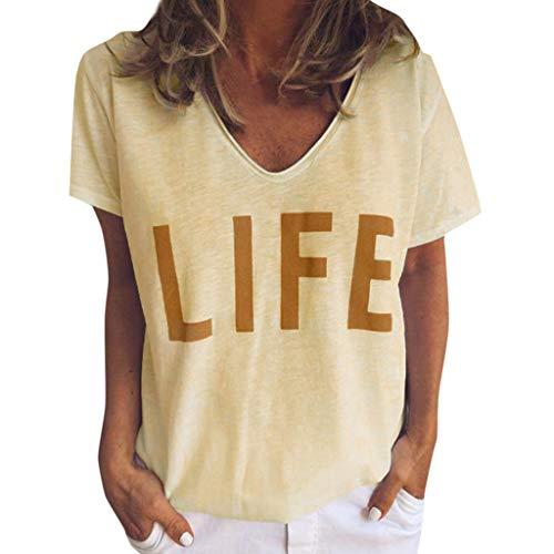 MDenker Bekleidung Damen T-Shirt Einfarbig Kurzarm Sommer Shirt Locker Oberteile Basic Tops Damens Summer Cute Print Tops Kurzarm T-Shirts Bluse