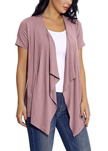 EXCHIC Damen Cardigan mit offener Vorderseite Unregelmäßiger Saum Kurzarm-Outfits (2XL, Lavendel) -