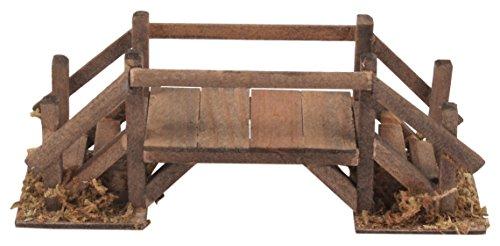 BERTONI Miniatur Holz Brücke mit Geländer, Holz, natur, 21x 8x 8cm (Tabletop-brücke)