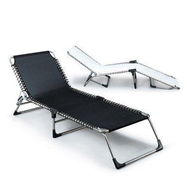 Jan Kurtz Amigo XXL Chaise longue en aluminium et textilène (fibres de polyester gainées de PVC) imperméable et anti-UV Noir