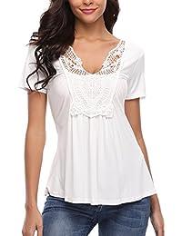 d26916b1747176 Miss Moly Damen Tiefer V-Ausschnitt Kurzarm Oberteil Tops Sexy Tunika T- Shirt