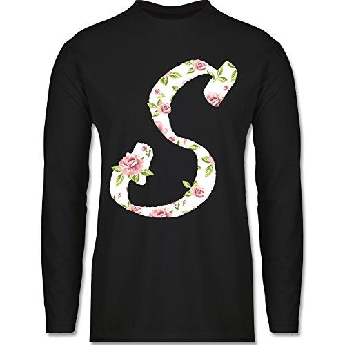 Anfangsbuchstaben - S Rosen - Longsleeve / langärmeliges T-Shirt für Herren Schwarz