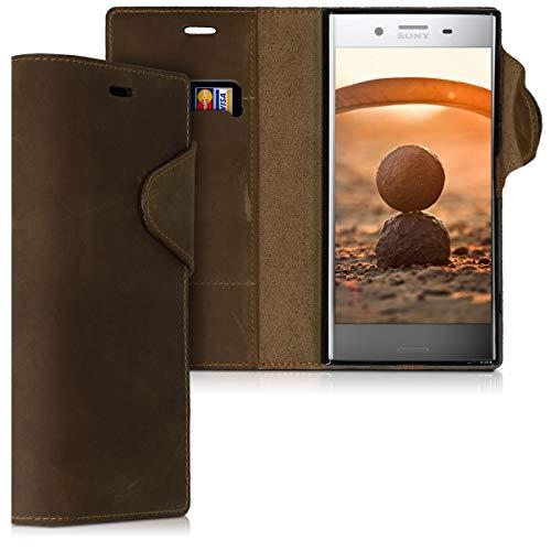 kalibri Sony Xperia XZ Premium Hülle - Leder Handyhülle für Sony Xperia XZ Premium - Handy Wallet Case Cover
