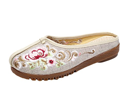 Insun Damen Hausschuh Blume Stickerei Slipper Espadrilles Flats Freizeit Schuhe Beige