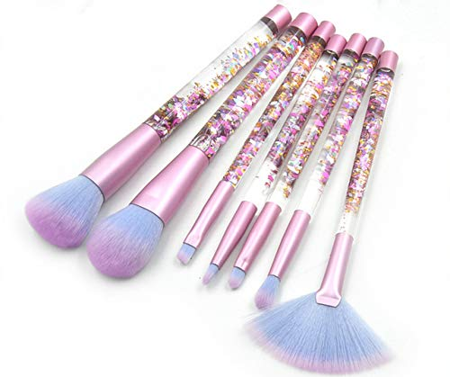 Pennello 7 pezzi trasparente per maniglia Quicksand, set di pennelli per fondotinta rosa cristallo, strumenti per trucco di bellezza