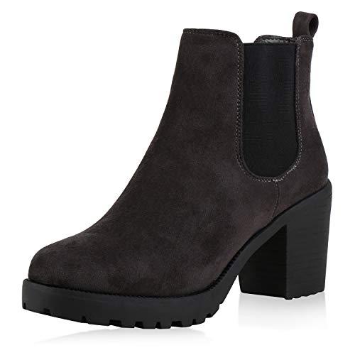 Stiefelparadies Damen Stiefeletten Chelsea Boots High Heel Booties Plateau Wildleder-Optik Schuhe 145338 Dunkelgrau Leicht Gefüttert 38