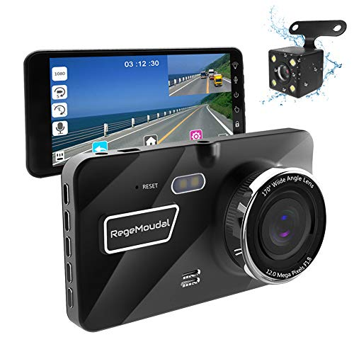 """RegeMoudal 1080P Caméra de Voiture Avant et Arrière 170° Voiture Enregistreur de Conduite Écran Tactile 4.3"""" LCD Enregistrement en Boucle Détection de Mouvement"""