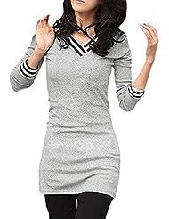 Mujer Cuello En V Camiseta De Manga Larga Rayas Detalle Entallado Camisetas - sintético, Gris Claro, 5% spandex 60% poliéster 35% algodón, Mujer, G (EU 44/UK 16)