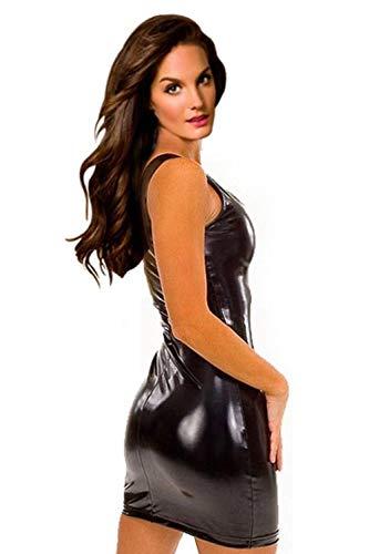 Erotic underwear Sexy Latex-Kleid für Damen, sexy, figurbetont, sexy, sexy Dessous, Catsuit, Latex, Teddies Kostüme, Schwarz, XXX-Large Xxx Large Kostüm