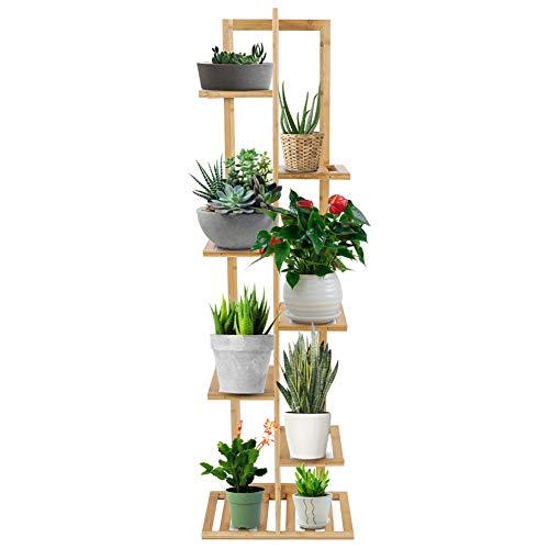 Blumenleiter Stehen, mehrschichtige Massivholz Grüne Birne Becken Boden Pflanze Rack, Praktische Blumenbuch Dekorative Display Regal für Garten Zu Hause Balkon Terrasse etc(7 Ebenen) -