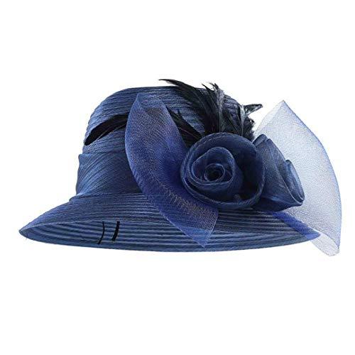 SUNDLSNJCS Charm Feather Net Yarn Bucket Hat Vintage Women Girls Felt Fedoras Flat Top Jazz Hat Church Hats Chapeau for Hats & Caps Blue -